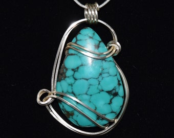 Lovely, Spiderweb Turquoise Pendant, comes with a 925 Sterling Silver Chain