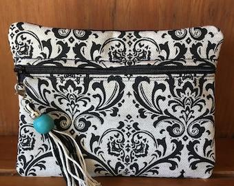 Black and white Damask print makeup bag