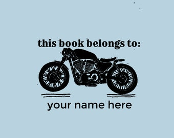 This Book Belongs to Stamp, Motorbike Custom Ex Libris, Library Custom Stamp, Booklovers Gift Idea, Timbro Personalizzato  -2207150318-