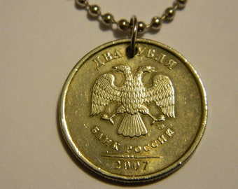 Russia Coin Pendant and Chain Necklace Double Headed Eagle Coin Necklace