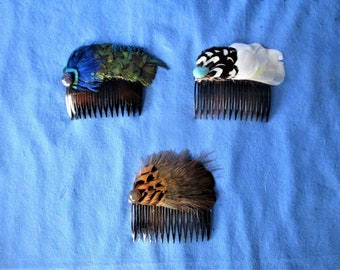 Set of three feather combs   set 144