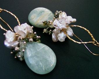 Green Kyanite Chandelier Earrings, Romantic Gift for Her, Gold Tourmaline Earrings, Fine Silver, Keshi Pearls, Heart Chakra