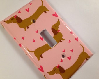 Funky Wiener Dog Single Light Switch Cover / Doxie Decor / Dauschaund Decor / Doxie Gift /  Weiner Dog Gift / Dog Lover Gift / Pink Nursery
