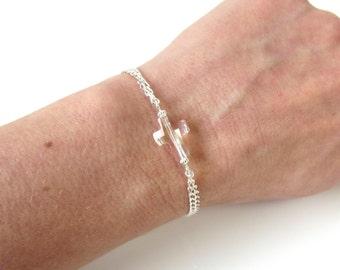 Sideways Cross Bracelet, Sterling Silver, Swarovksi Crystal Cross, Horizontal Cross, Gift for Her, Faith Bracelet, Christian Bracelet