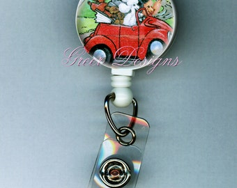 Poodles in Retro Red Convertible Retractable ID Badge Holder Reel Clip Gift