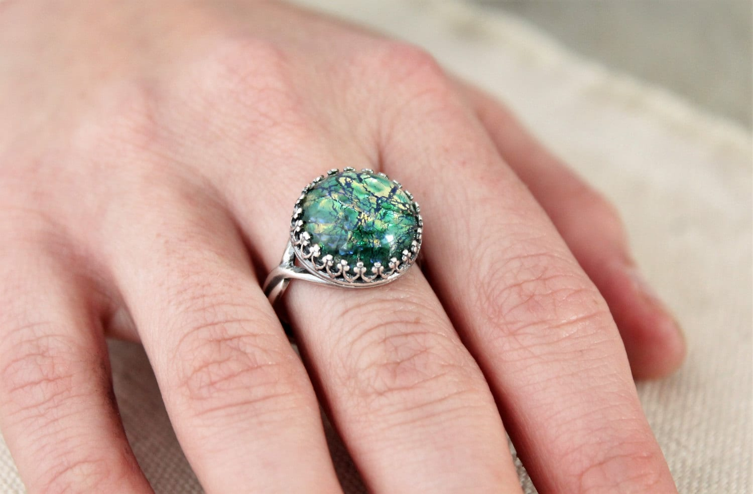 Vintage Emerald Opal Rings Green Fire Opal Ring Large Round