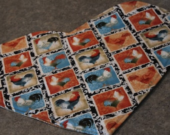 Rust Teal Roosters Chickens Heart Shaped  18 X 16  Table Runner Topper