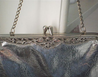 Vintage shiny Silver Evening Handbag