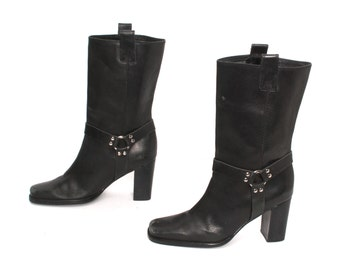 size 8 PLATFORM black leather 80s 90s MOTO HARNESS high heel ankle boots