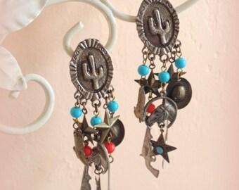 70s Cowgirl Clip Earrings - Fun Southwestern Flair - Vintage Earrings