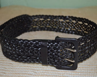 Belt Liz Claiborne, Black Leather Belt 1 Size Fits All, Wide Black Leather Belt, Liz Claiborne Belt, Black Belt