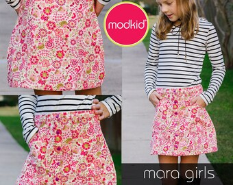 Mara Girls Mini Skirt PDF Downloadable Pattern by MODKID... sizes 2T to 8/9 Girls included - Instant Download