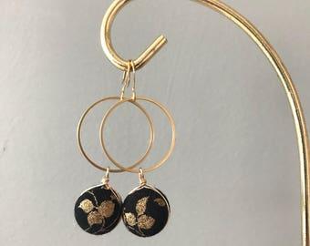 Black & gold floral dangle
