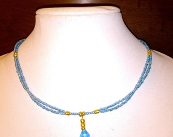 blue and gold  flower necklace