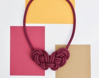 Double knot rope Celtic necklace - purple