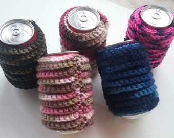 Bottle Cover, Can Cover, Crochet Bottle Insulator, Blue Can Cover, Pink Can Cover