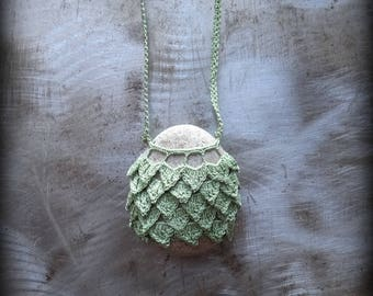 Sale, Artist Necklace, Crocheted Lace, River Stone, Gift, Original, Green, Gray, Layered Leaves, Handmade, Nature, Unique, Bohemian, Monicaj
