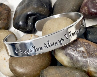 Always & Forever - to the Moon and Back - Cuff Bracelet Personalized - Hand Stamped Bracelet - Metal Cuff Custom - Bangle Bracelet