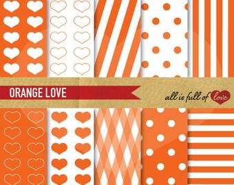 DIGITAL Graphics ORANGE SCRAPBOOK Paper Pack hearts polka dots & stripes Instant download Valentines Digital Paper