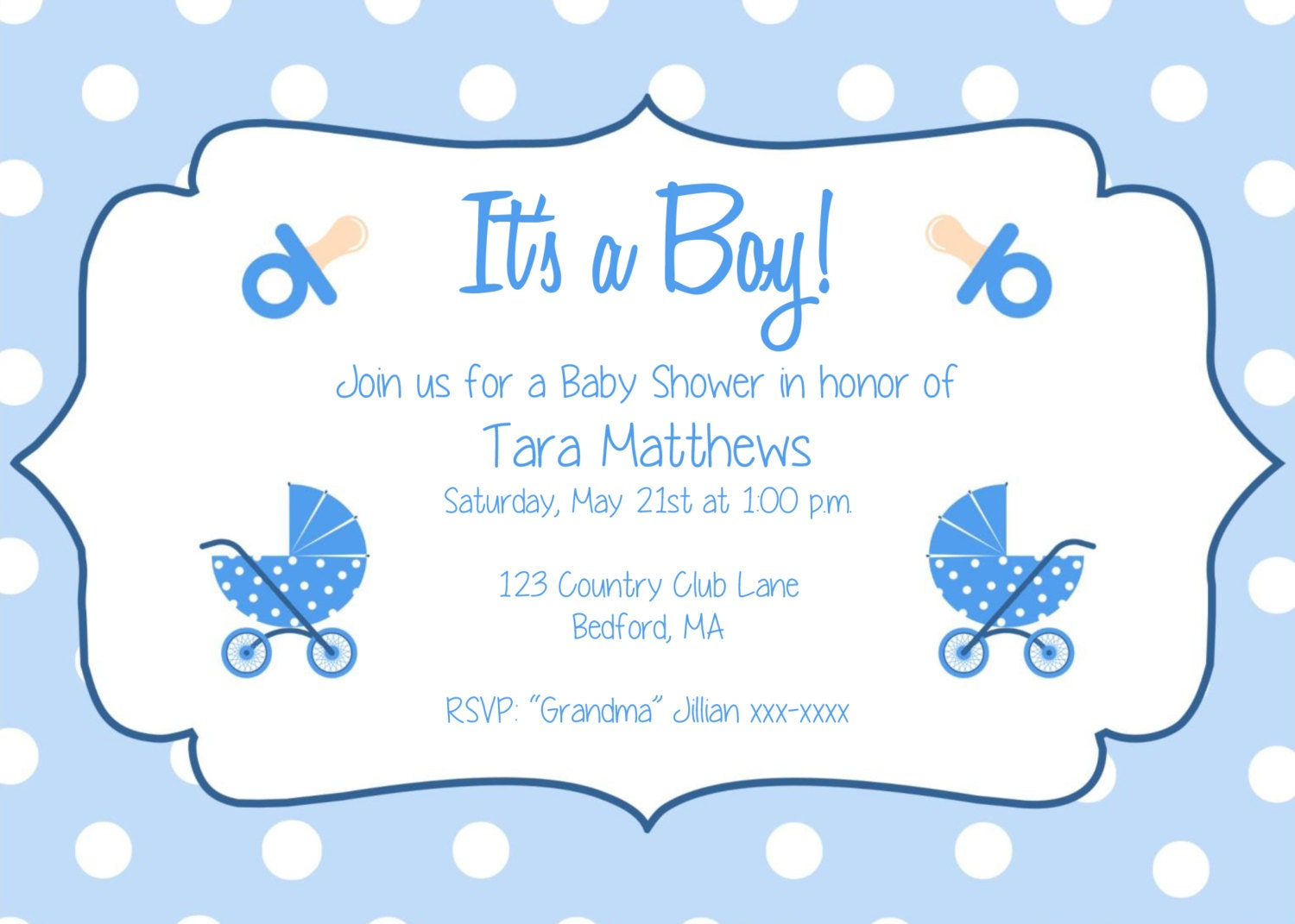 Boy Baby Shower Party Invitation Template Its A - Baby shower invitations templates editable boy