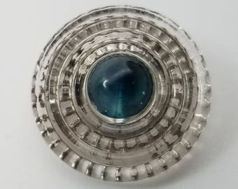 Fabulous Fancy Glass Sewing Button ~ Ribbed Clear Glass with Teal Blue Peacock Eye ~ Gold Back Paint ~ just over 7/8 inch 23mm ~ Coat Button