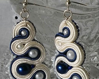 White-blue Soutache unique Earrings