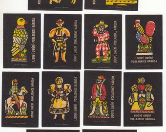 12 Vintage Matchbox Labels from Czechoslovakia - 1961 - Visual Journals, Altered Art, Artist Trading Cards