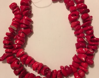 Sliced Red Branch Coral Beads Two Strands 10-30 mm