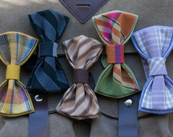 Set - 5 handmade men's bow ties. Adjustable length. Different pattern, colors.