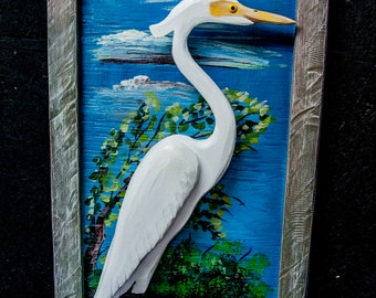 Egret, Great egret, Wall hanging, Painting,Scupture,