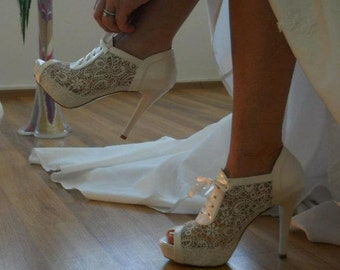 Wedding shoes, Handmade Lace wedding shoe designed specially #8445