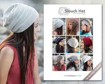 Slouch Hat Crochet Patterns Vol. 2 - 9 Pattern E-Book by Little Monkeys Crochet     slouch hat crochet pdf patterns, instant download
