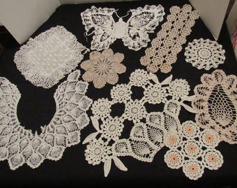 9 Piece Lot Vintage Crochet Doilies Pieces Assorted Patterns Butterfly Flower Basket Collar Fabric Crafts Cotton Shabby Sewing Collage