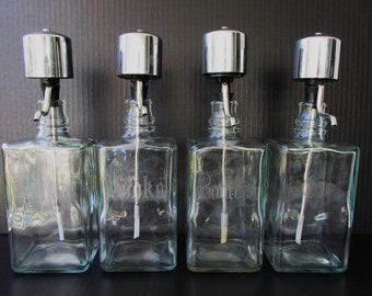 Vintage Decanter Set - Etched Clear Glass - Heavy Glass Decanters with Pumps Bourbon - Vodka - Gin - Scotch - Liquor Set - Craft Cocktails