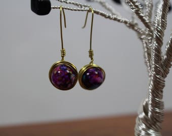 Unique Handmade Brass Wire Wrapped Earrings w/ Deep Purple Hand painted Glass Beads as Centerpiece