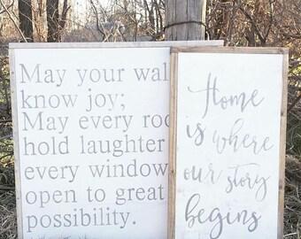 May your walls know joy   fixer upper   custom wood sign