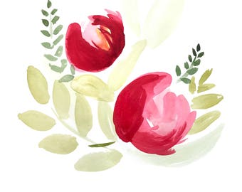 Printable Red Peonies Watercolor Triptic Digital Prints