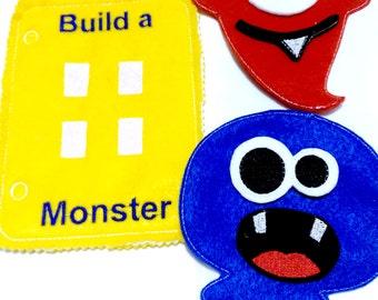 Felt quiet book - Toddler quiet book - Quiet book page - Toddler busy book - Busy book page - Felt busy book   Build a monster page  #QB109
