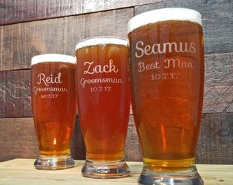 Personalized Beer Glasses, Etched Glasses, Engraved Glassware, Custom Pilsner Glass, Groomsmen Gifts, Bridesmaid Gifts, Gifts for the Groom