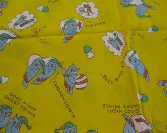 Sleepy Owls Cotton Fabric - 1 1/2 Yd.