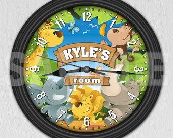 Jungle Safari Zoo Animals Personalized Wall Clock - Boy's or Girl's Room Decor ITEM#077