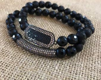 Black jade and champagne Cz bracelet