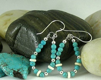 Turquoise and Bone Earrings - Aztec - Native American Loops