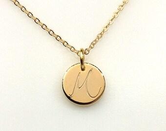 Personalized Disk Necklace, Monogram Necklace, Gold plated Disc Necklace, Custom Bridesmaid Necklace, Bridesmaid Gift, thick Disc, 12mm disc
