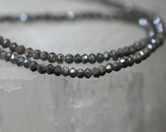 Charcoal Gray Silverite Corundum Sapphire Faceted Rondelles, 3mm, Gemstone, Strand, Beads Unique Rare DIY Jewerly Necklace Bracelet Earrings