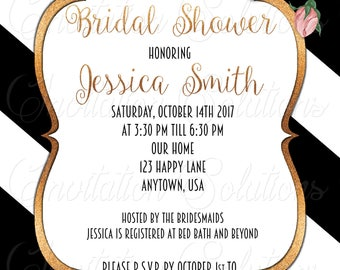 Rose Gold Glitter floral Bridal Shower Invitation/Beautiful Glitter and Flowers Party Invitation