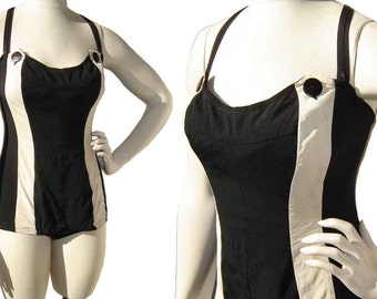 Vintage 50s Bathing Suit Maillot Black & Cream Stripe Rockabilly Swimsuit Pin Up M