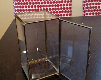 Display case, glass with brass outlines