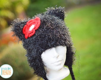Sparkly Black Furry Kitty Cat Hat With Red Flower READY to SHIP for Child Size