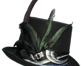 Large Black Felt Top Hat Quicksilver Gothic Steampunk Traveler Mens Cosplay Blue